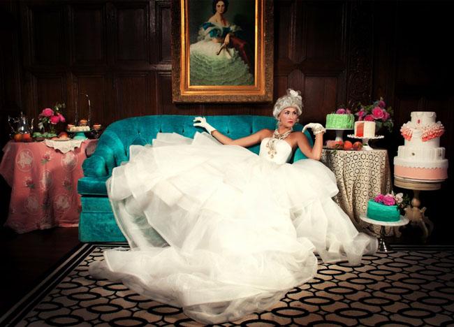 rococo bride on teal sofa