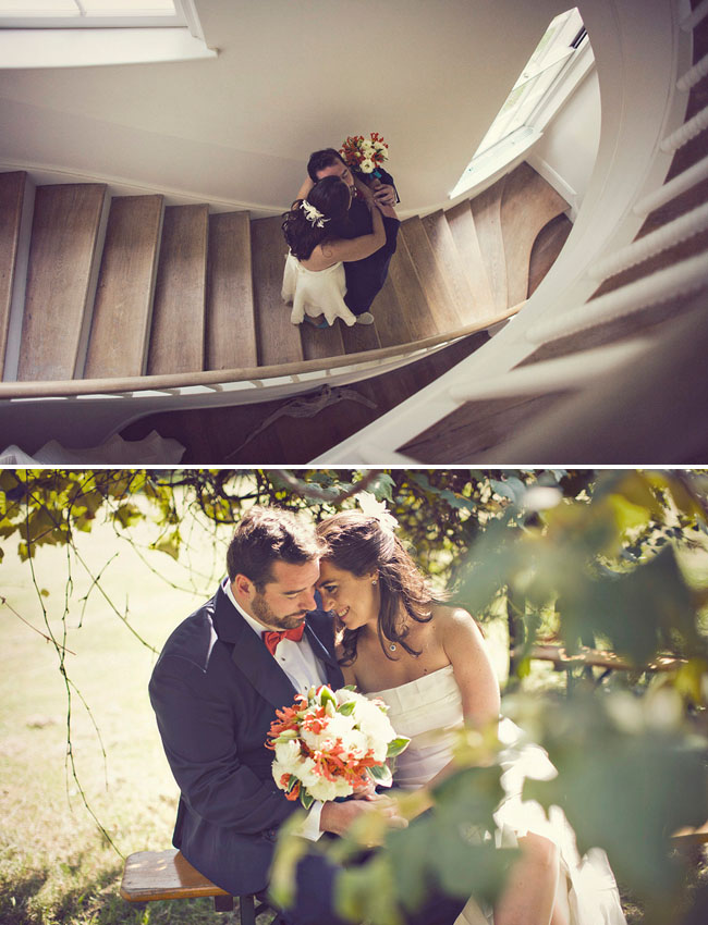 bride and groom in staircase