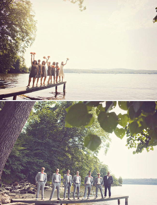 bridal party by lake