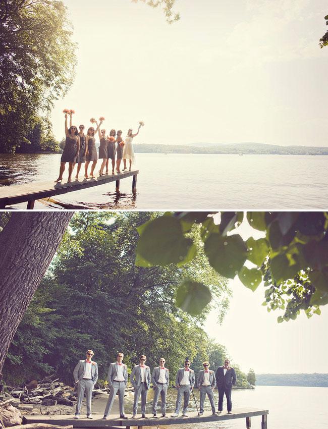 bridal party by lake