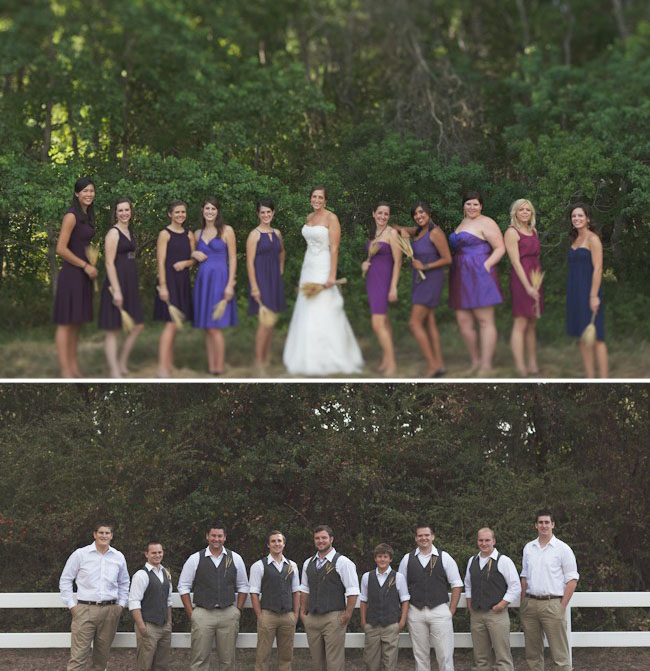 purple bridesmaids, bridal party