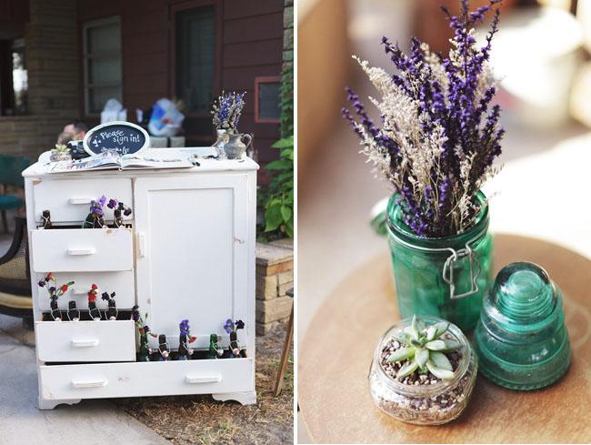 old soda bottles, lavender in jars