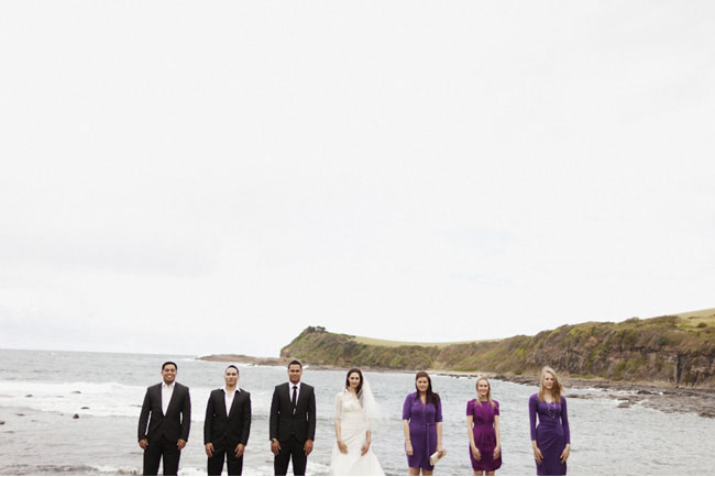 bridal party by the water