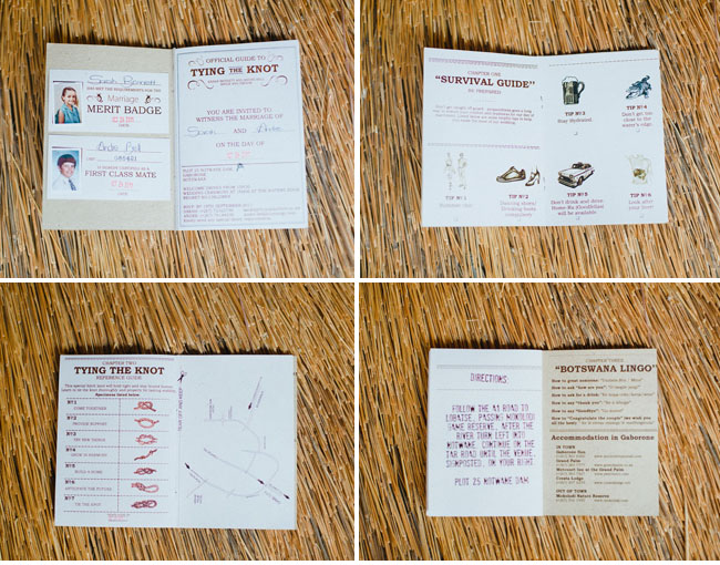 africa survival guide wedding invitation