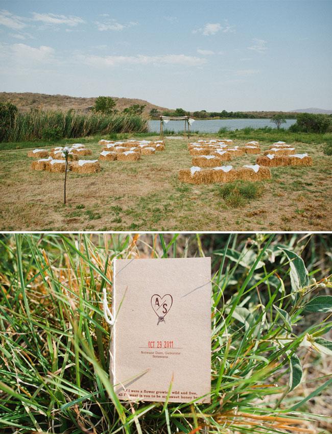 africa wedding, hay bales