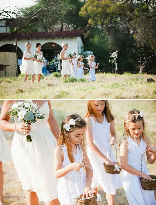 africa wedding, flower girls in white