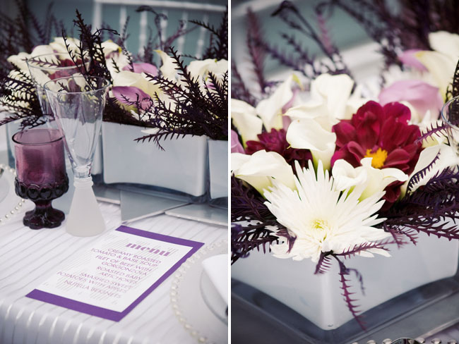 modern purple centerpiece