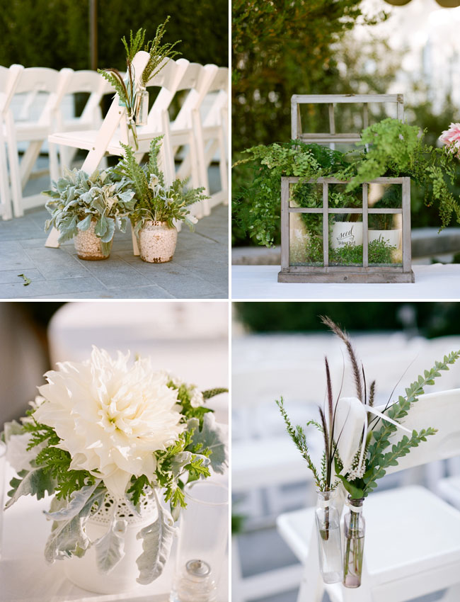green ceremony decor, window pane