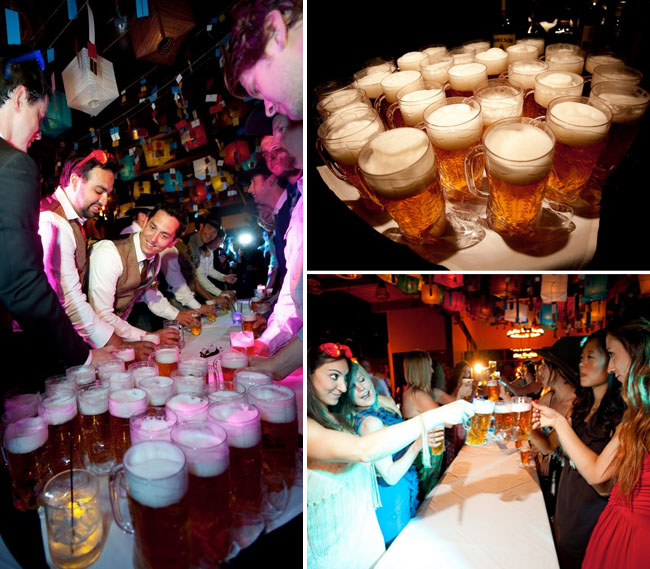 beer race at wedding