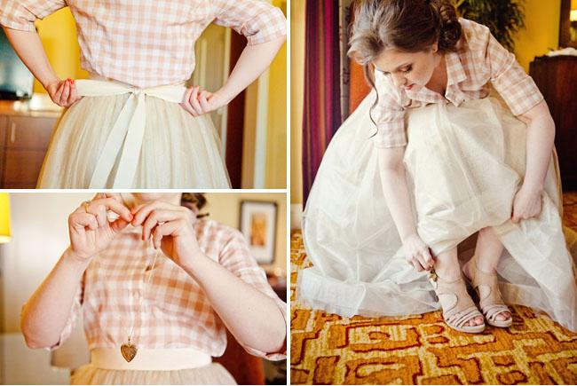 plaid shirt with wedding skirt