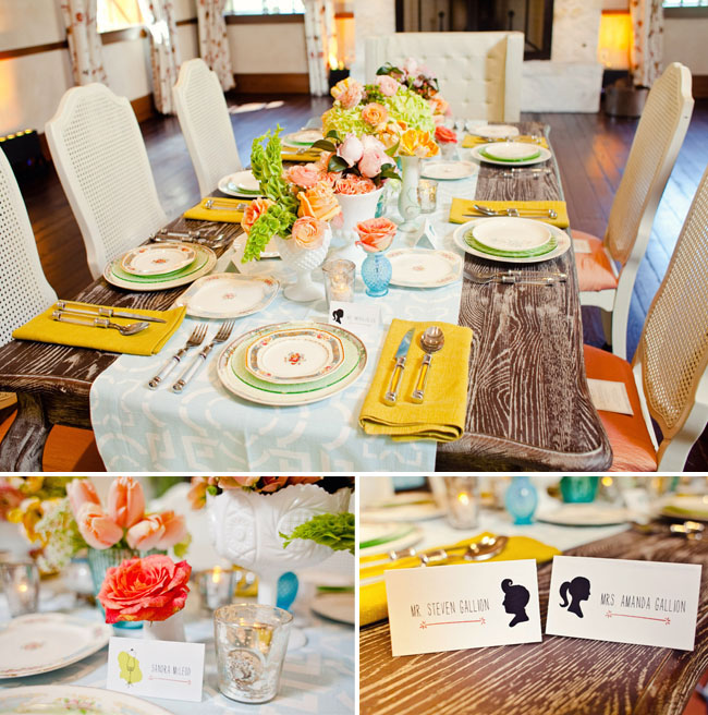 bright tablescape on rustic wooden table