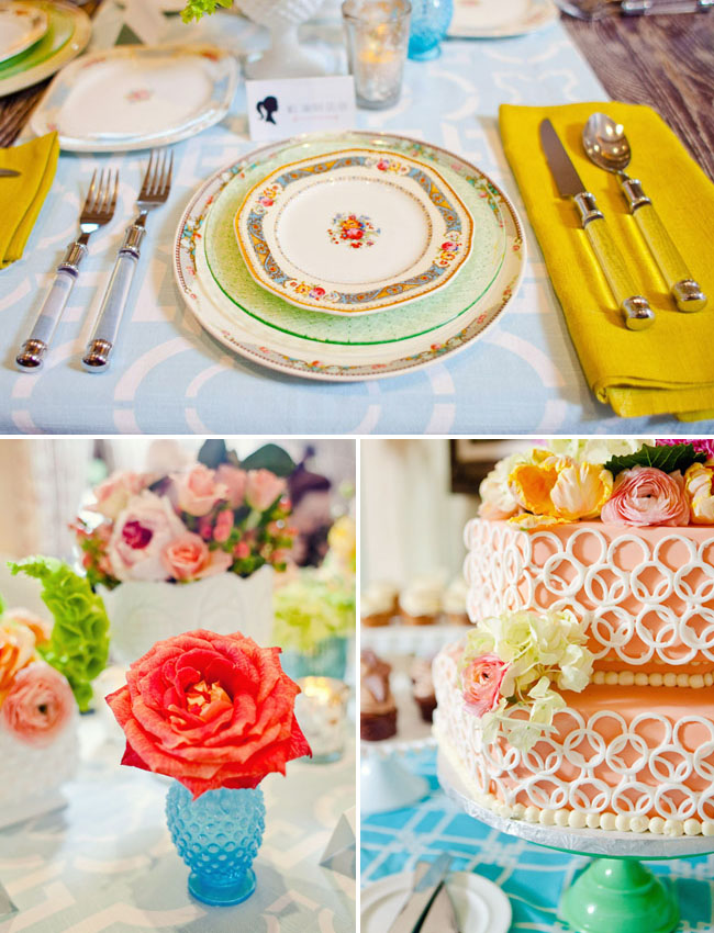 vintage place setting, netted cake design