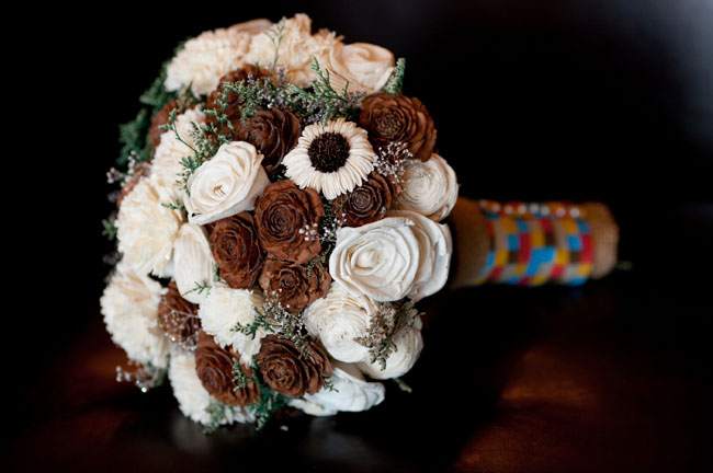 wood rose and white bouquet