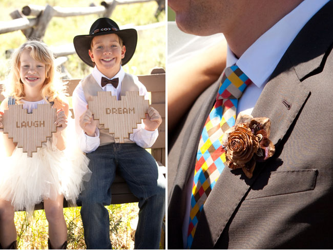 wood rose boutonniere, cowgirl flowergirl