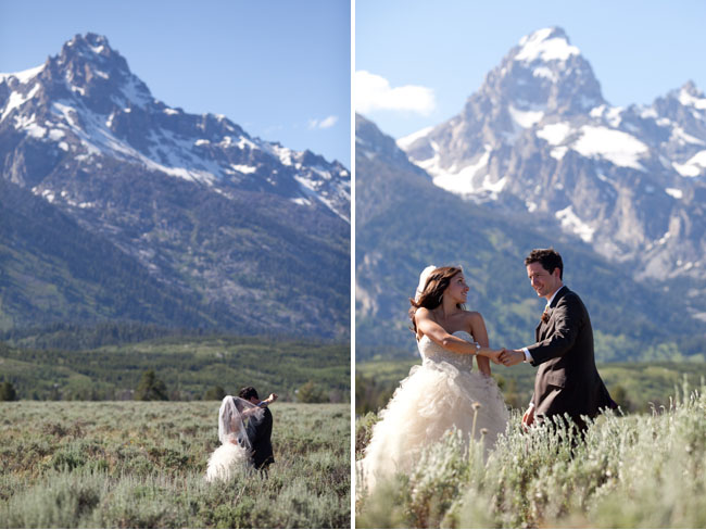 bride and groom, moutains