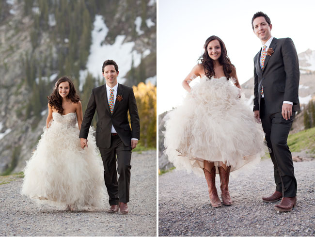 bride and groom, ballgown dress