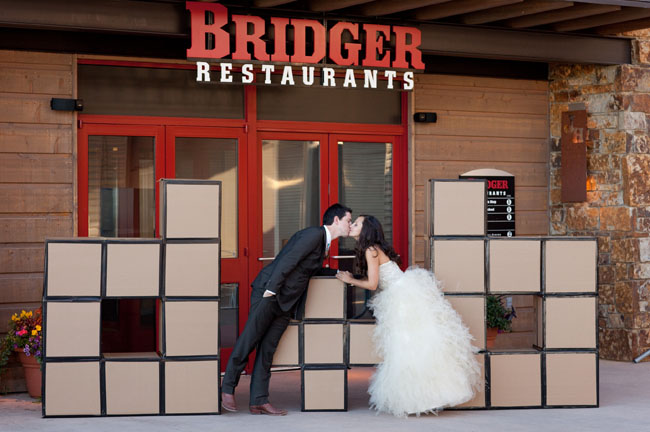 bride and groom block letter initials
