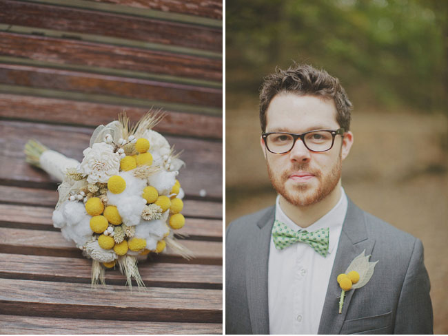 yellow billy ball bouquet, boutonniere