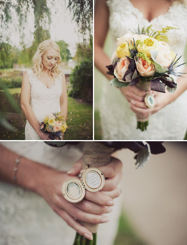 lace wedding dress, locket on bouquet