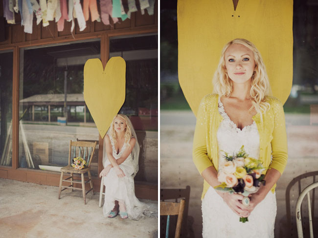 bride in yellow cardigan, yellow heart
