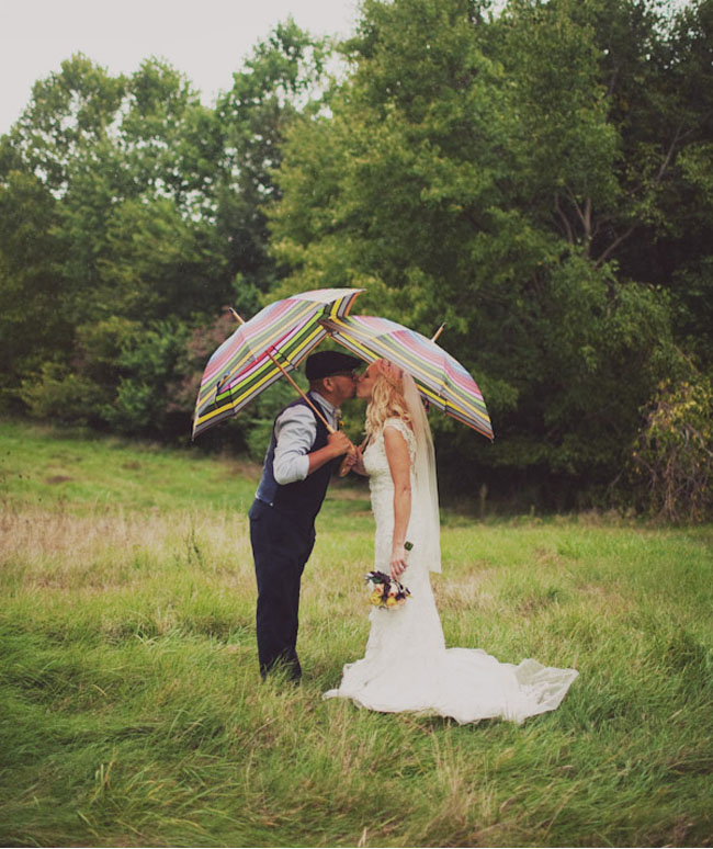 bride and groom with umbrellas