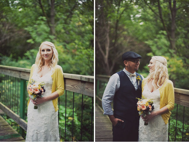 bride in yellow cardigan