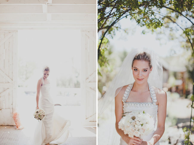 bride in halter strap dress