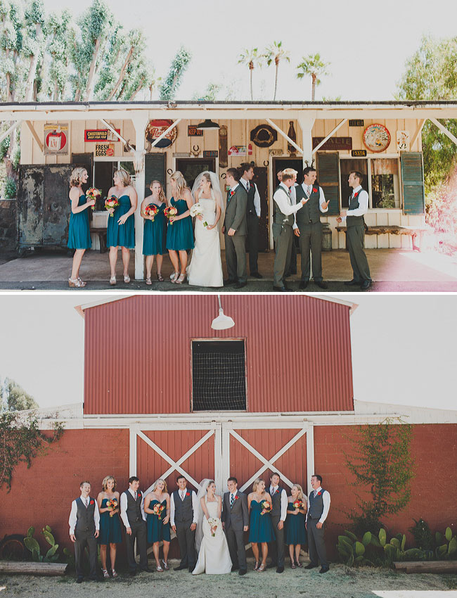 bridal party at barn