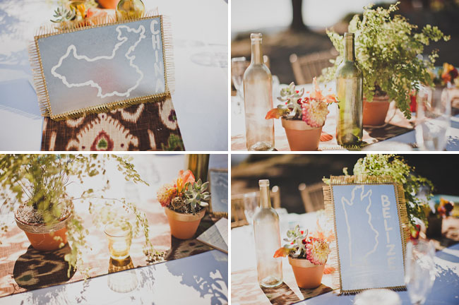 potted plant centerpieces, state table names