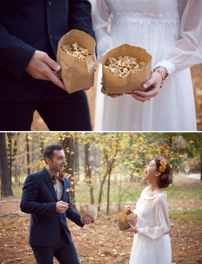 bride and groom with popcorn