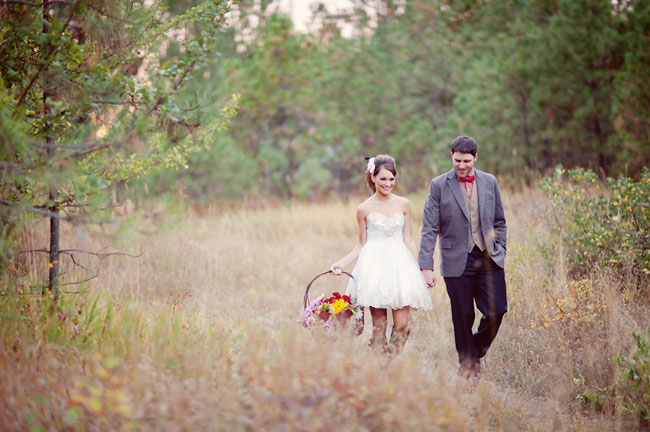 white short dress, engagment, flower basket