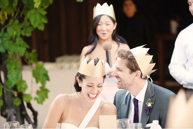bride and groom in gold crowns