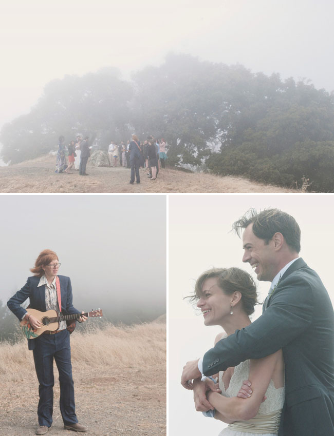 foggy wedding on a hill