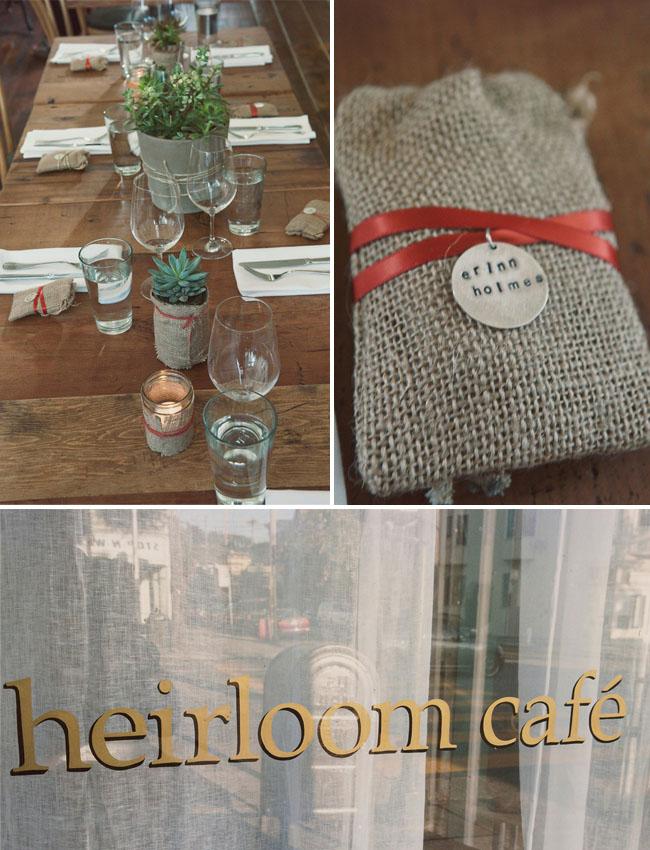 cafe reception, simple succulent tablescape