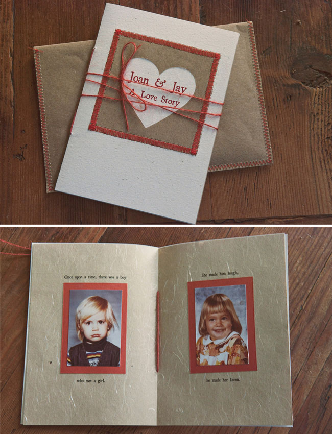 heart card, bride and groom as children