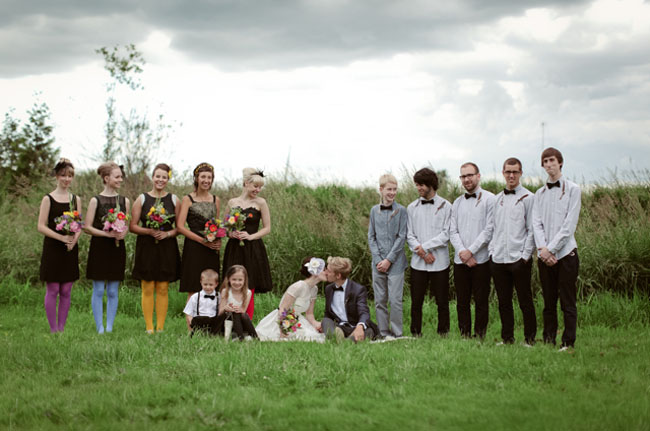 bridal party, bridesmaids in colored tights