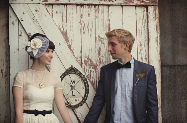 bride and groom, bride with black bow belt