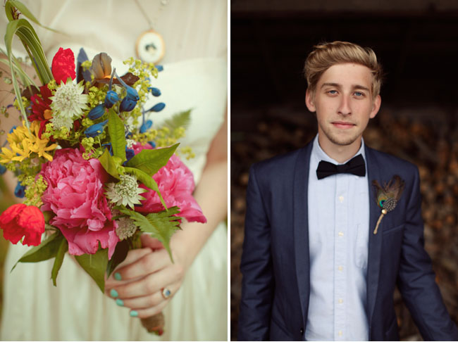 groom in bowtie, wild flower bouquet