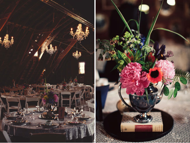 indoor reception, books and silver vases