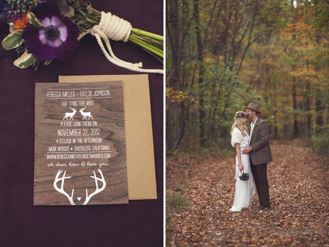 deer inspired wedding invite