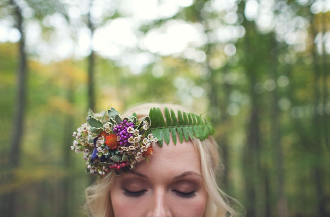 fern and floral hair piece