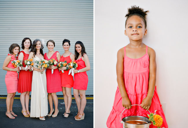 flower girl with bucket of flowers
