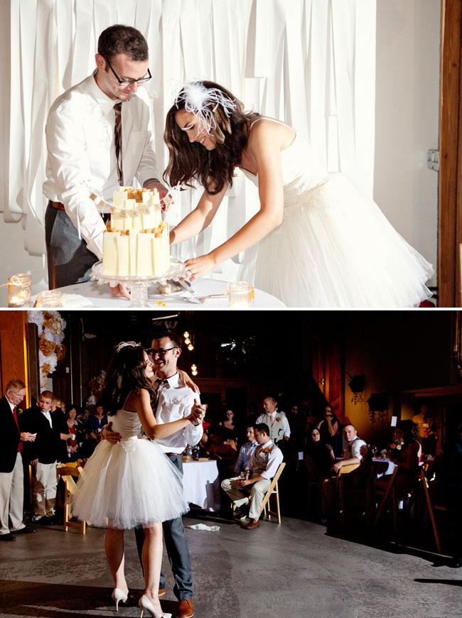 bride in short tulle wedding dress