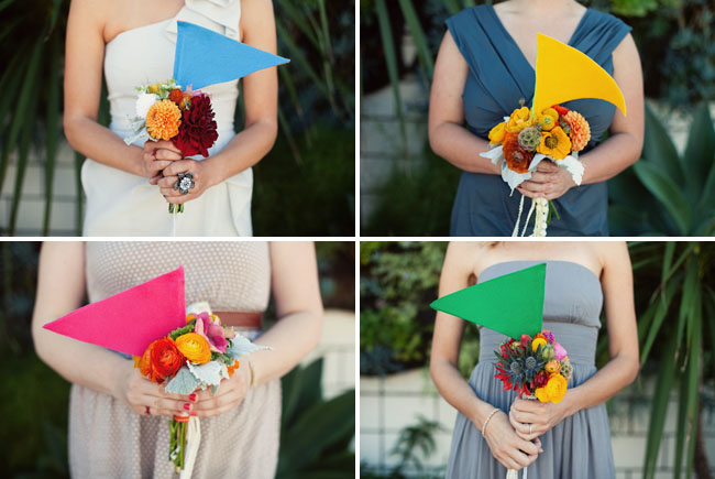bright bouquet and colored flags