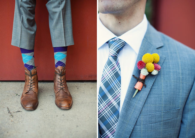 billy ball boutonniere, funky groomsmen socks