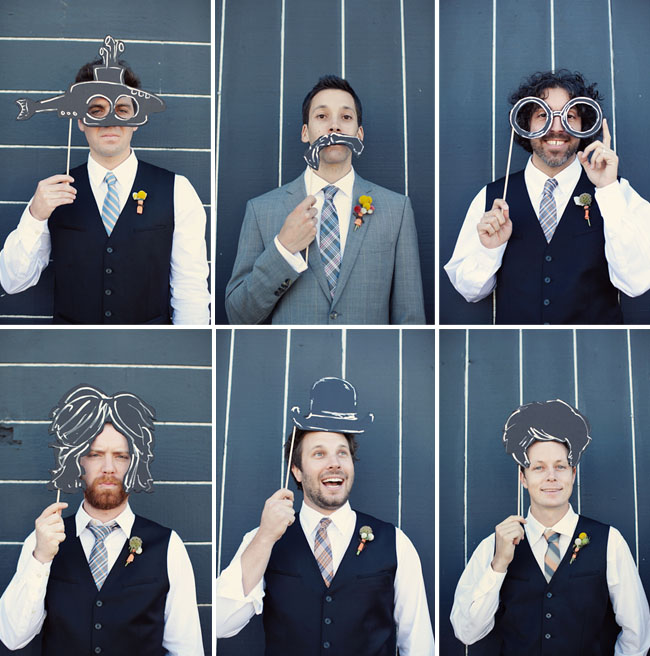 groomsmen with cut out props