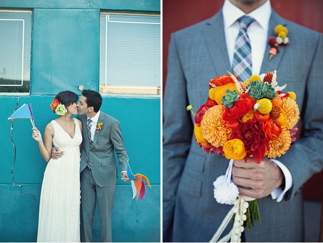 bright bouquet, bride and groom with flags