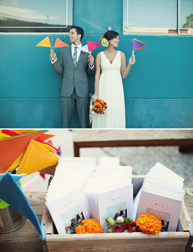 bride and groom with flags