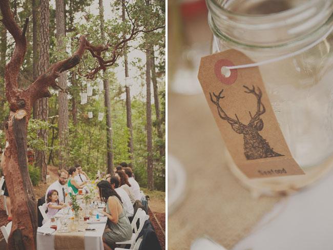 mason jars with deer stamp tags