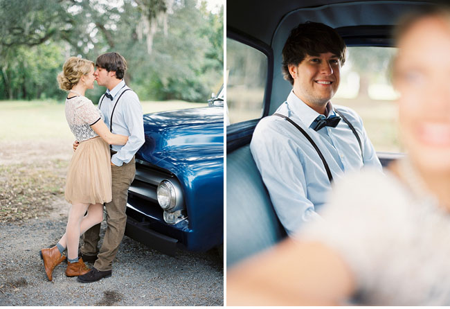 engagement with an old truck